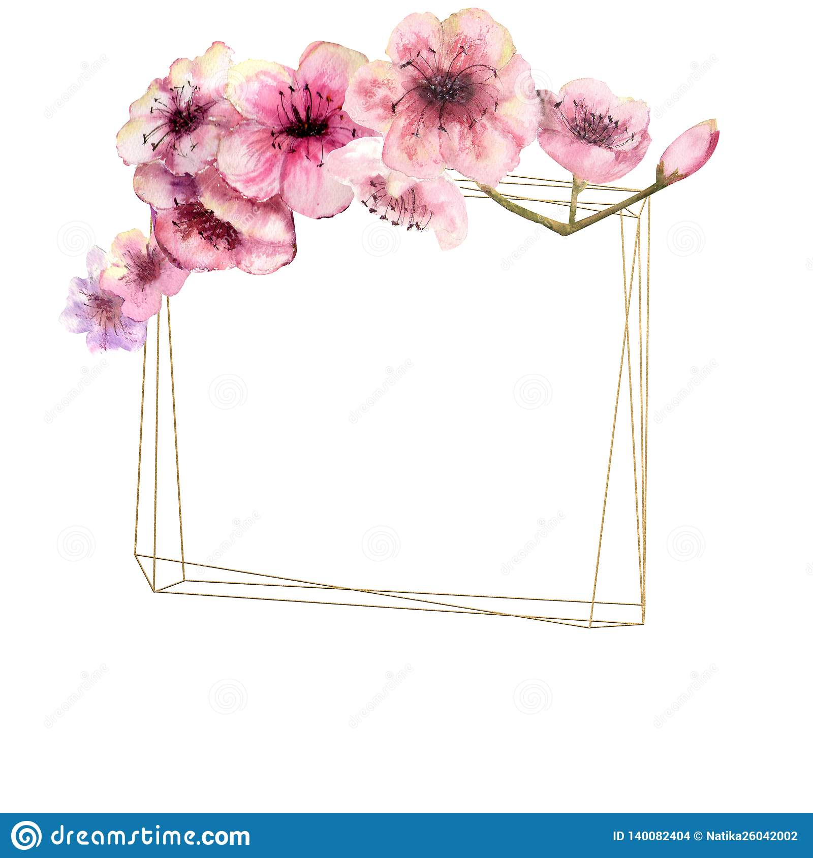 Cherry Blossom Sakura Branch With Pink Flowers On Gold Frame And Isolated White Background Image Of Spring Frame Watercolor Stock Illustration Illustration Of Background Cherry 140082404