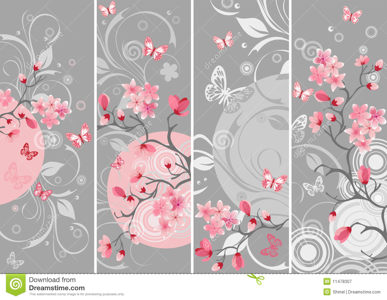 Cherry Blossom Set Royalty Free Stock Photography - Image: 11478307
