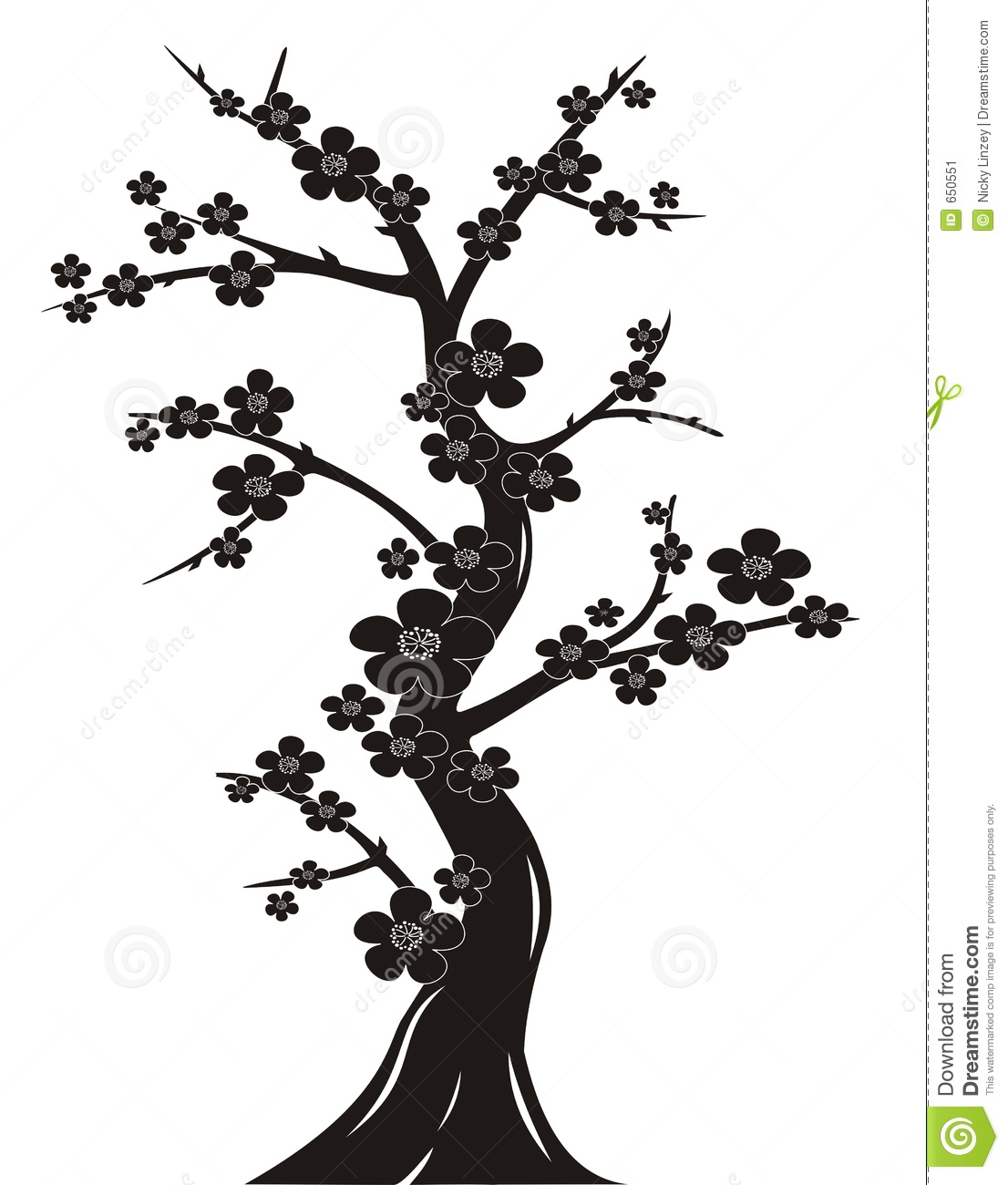 Cherry Blossom Tree Black And White: Cherry Blossom Tree Silhouette Stock Vector