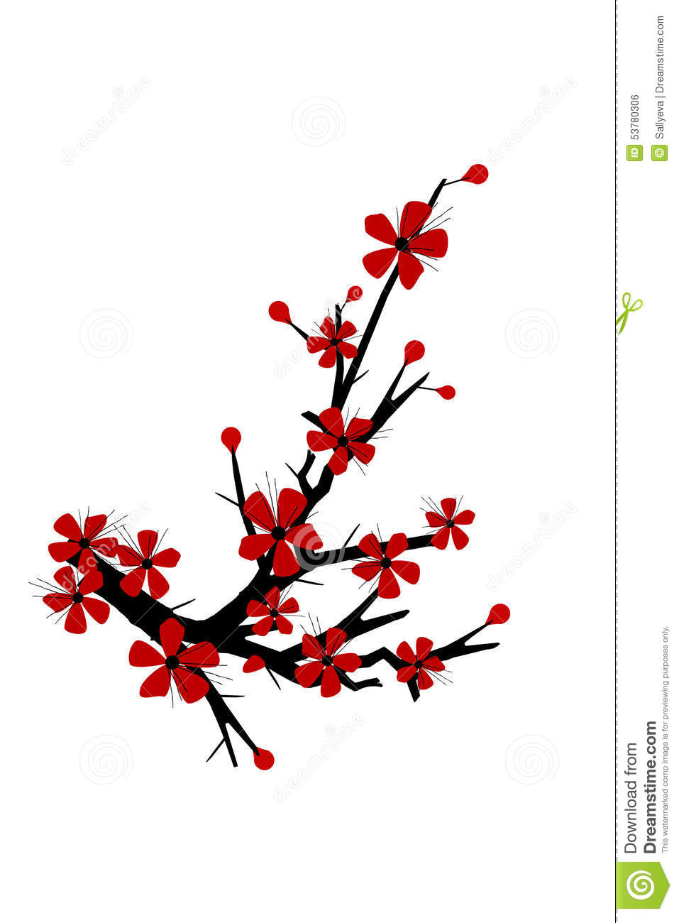 Cherry Blossom Tree Silhouette Stock Vector - Image: 53780306