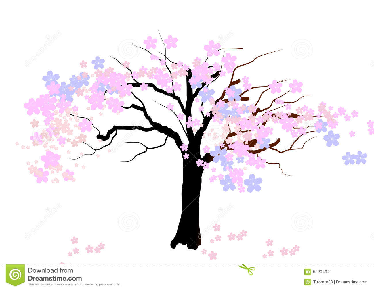 Nature background with blossoming sakura branch royalty free stock - Cherry Blossom Tree On White Background Vector