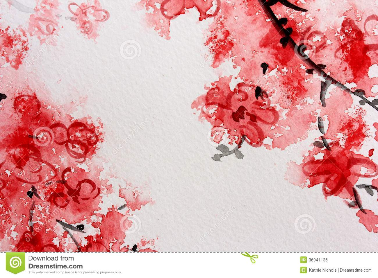 Cherry Blossom Watercolor Series 2 Stock Illustration