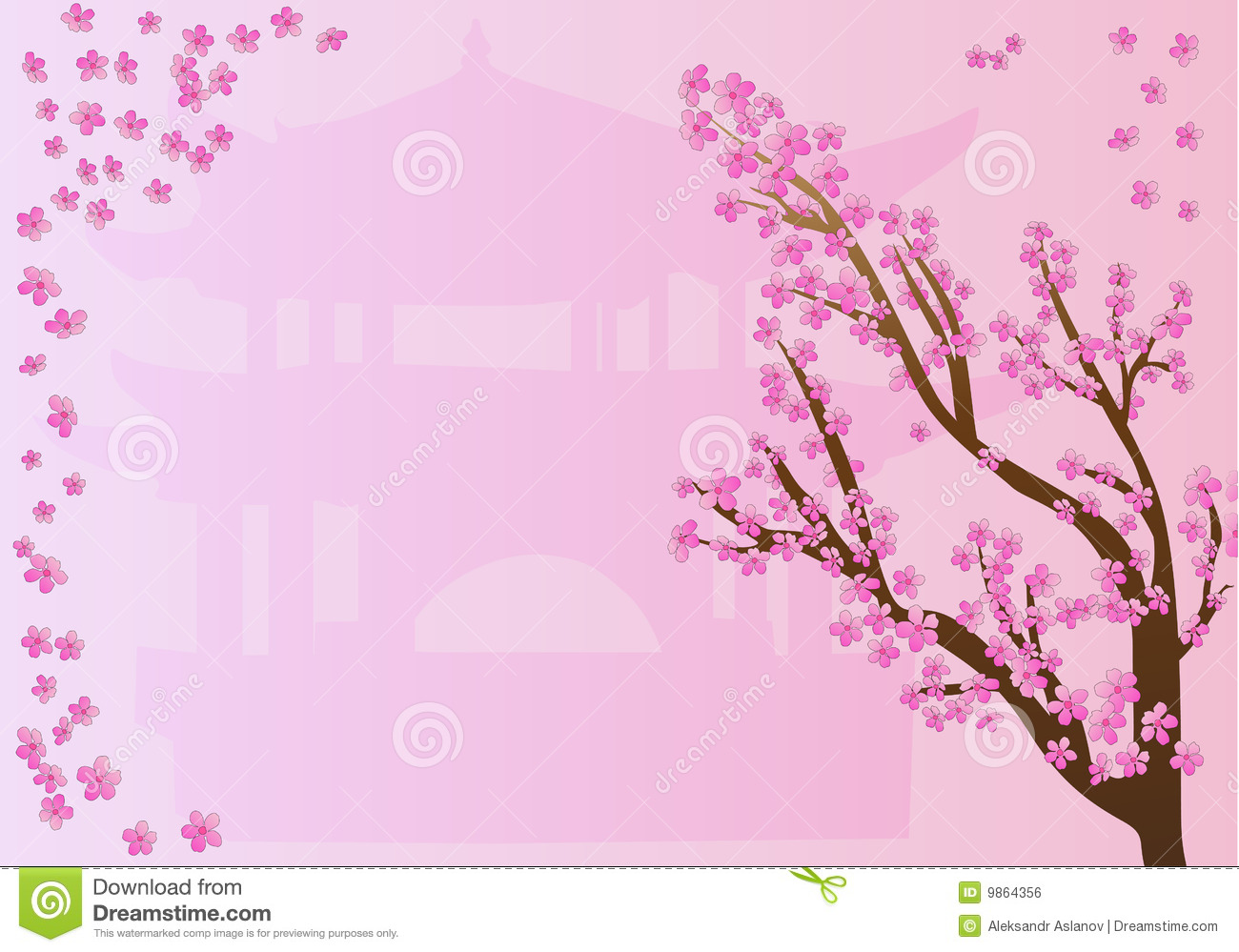 Cherry Blossoms On Pink Design Stock Illustration - Image: 9864356