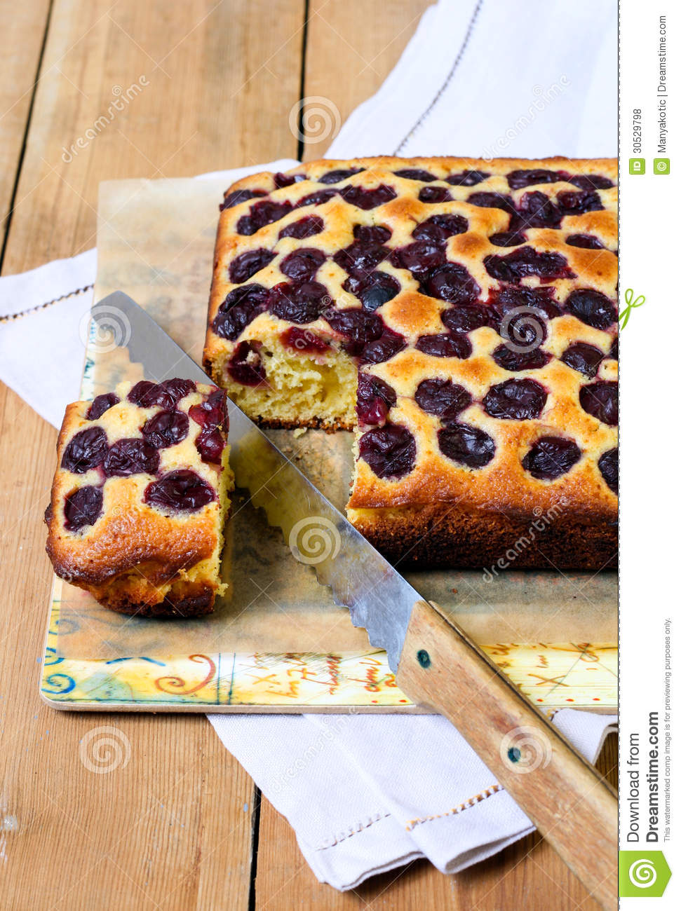 Cherry Cornmeal Cake Royalty Free Stock Photos - Image: 30529798