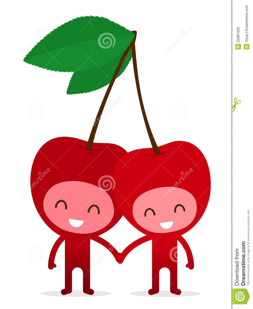 Cartoon Characters Holding Hands : Cherry couple holding hands royalty free stock images