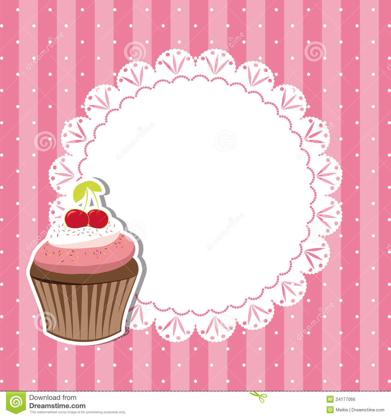 Cherry Cupcake Invitation Card Royalty Free Stock Image - Image ...