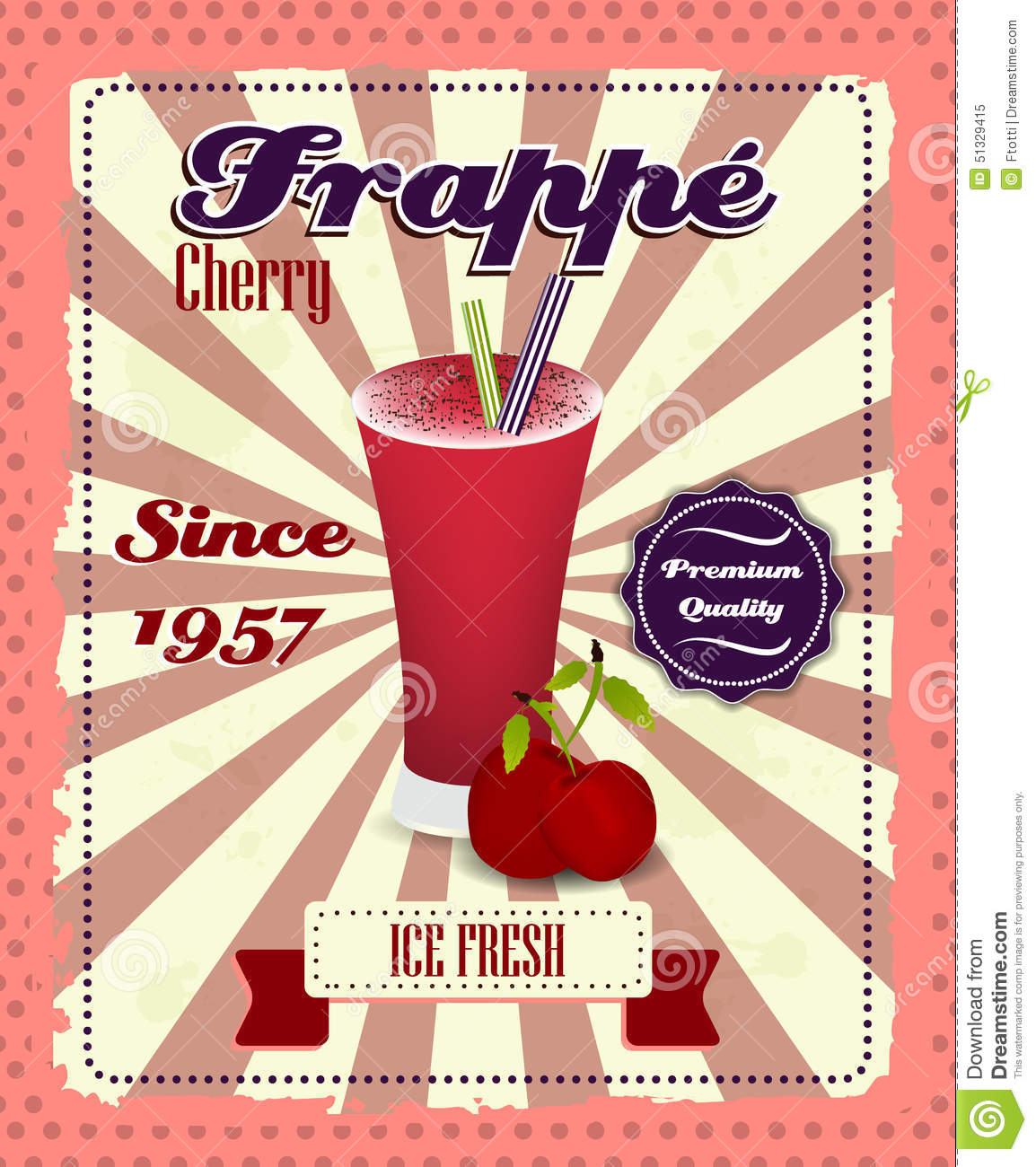 Cherry frappe poster with fruit drinking strew and glass for What is retro style
