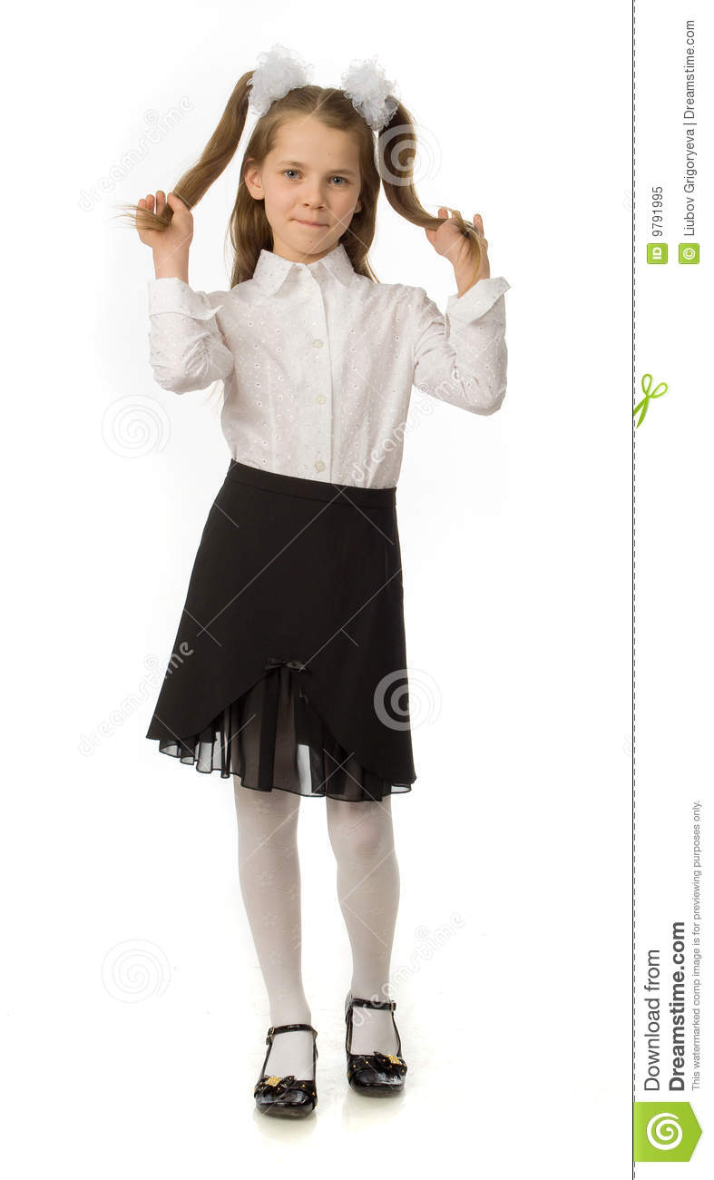 The Cherry Girl In A School Uniform Royalty Free Stock ...