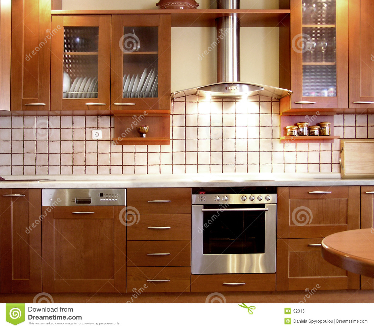 Cherry kitchen design stock image image of kitchens for Free kitchen design