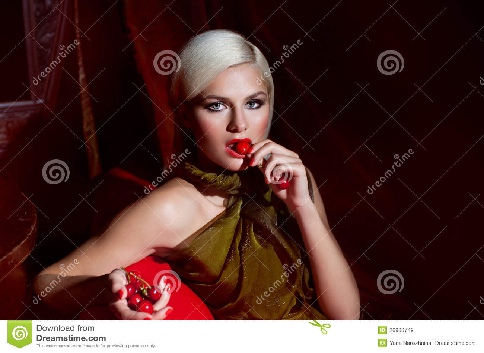 Cherry lady stock image. Image of beautifull, blonde