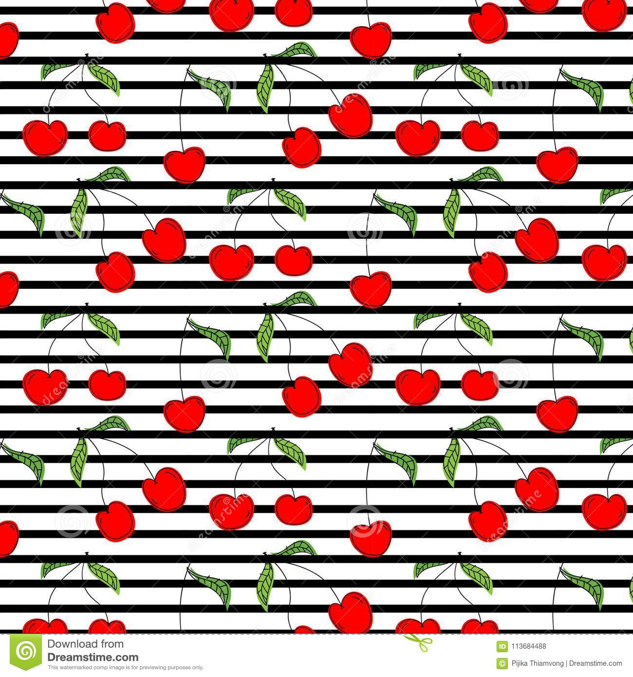 Cherry Pattern Vetora Illustration Background tirado mão