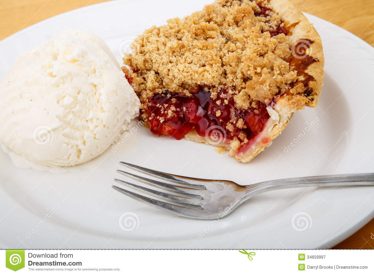 Cherry Pie With Ice Cream And Fork Royalty Free Stock Photography ...