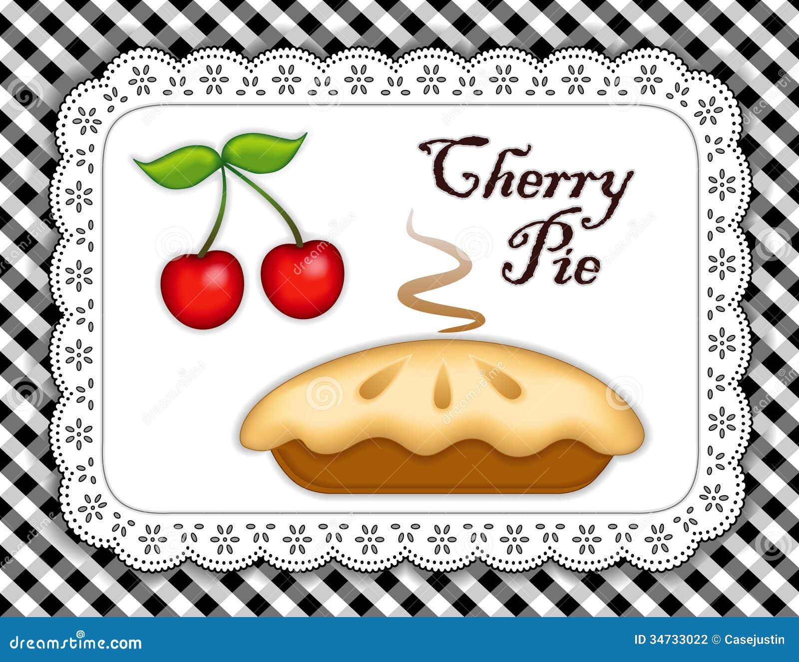 Cherry Pie, Lace Doily Place Mat, Black Gingham Stock ...