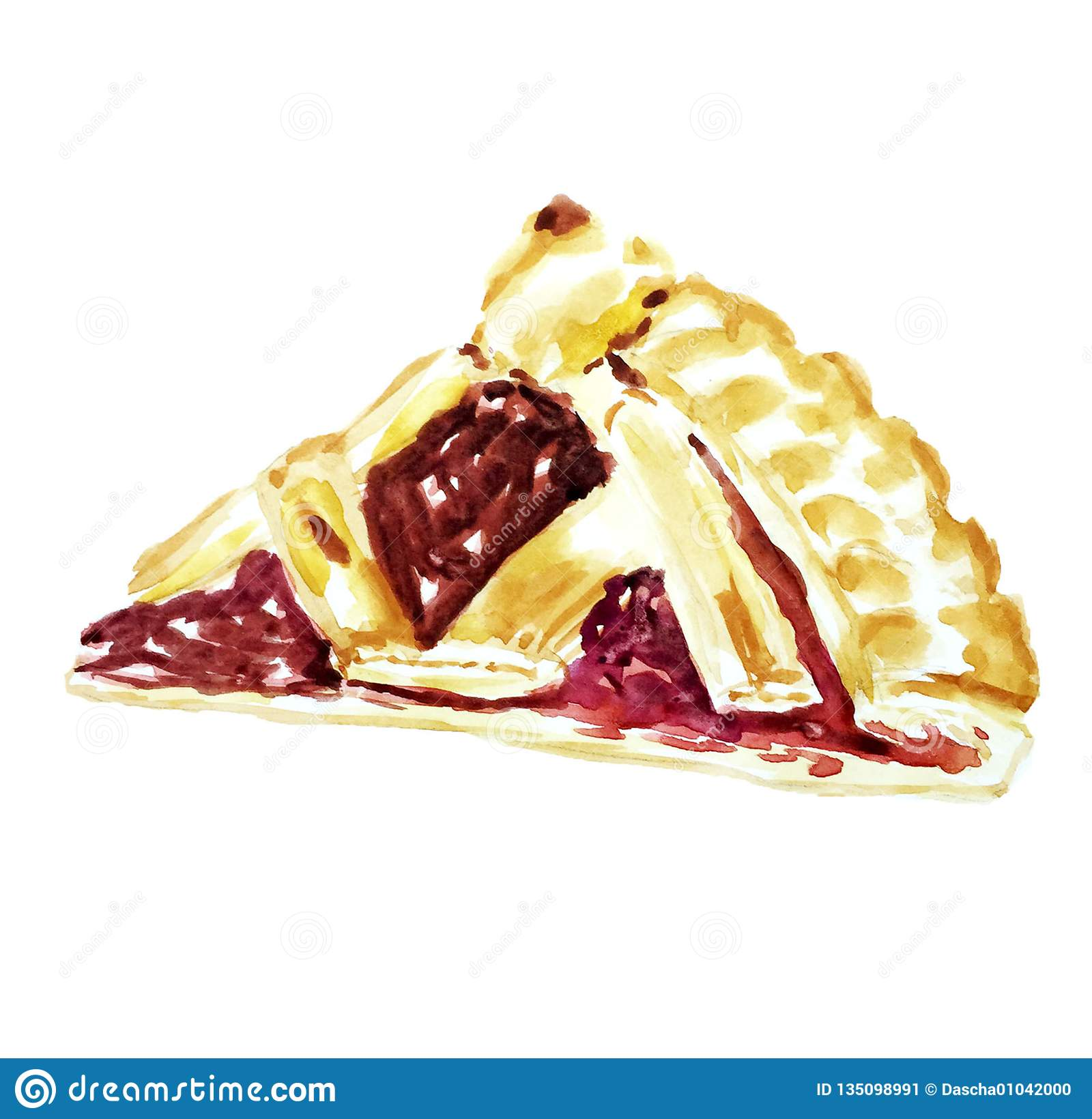 Cherry pie slice watercolor illustration isolated