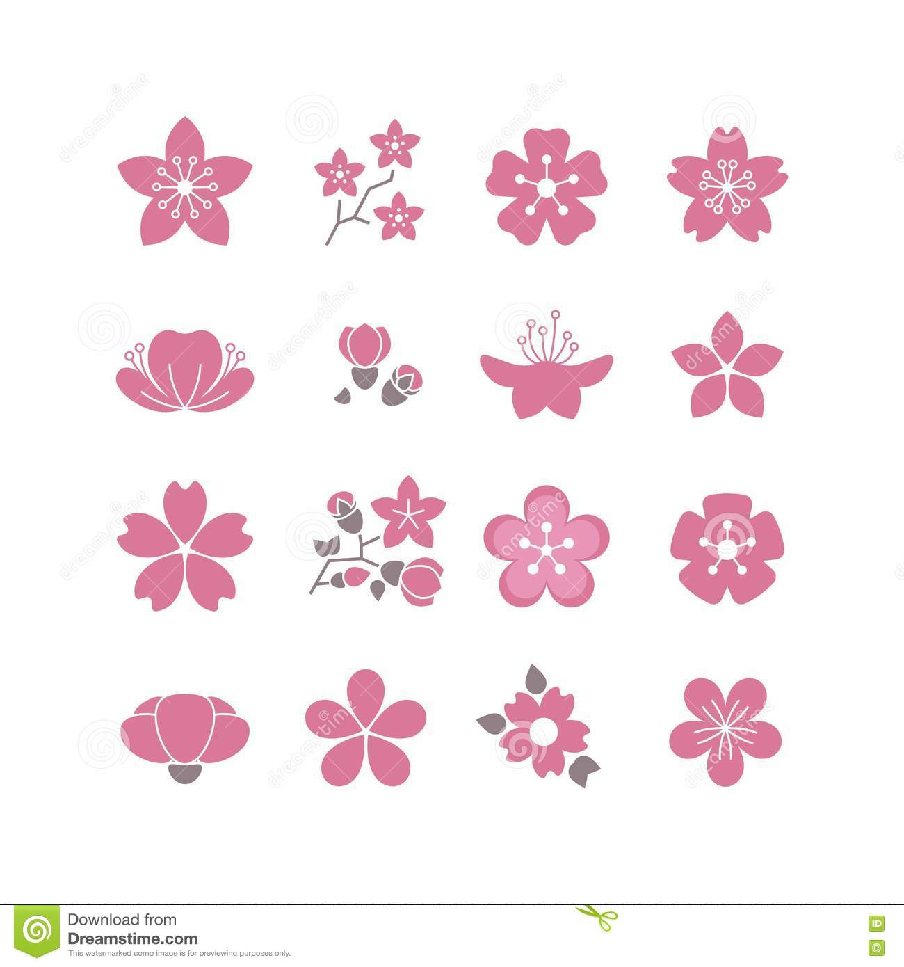 Cherry pink flower spring sakura blossom vector icon set stock bloom blossom branch cherry flower icon illustration pink dhlflorist Images