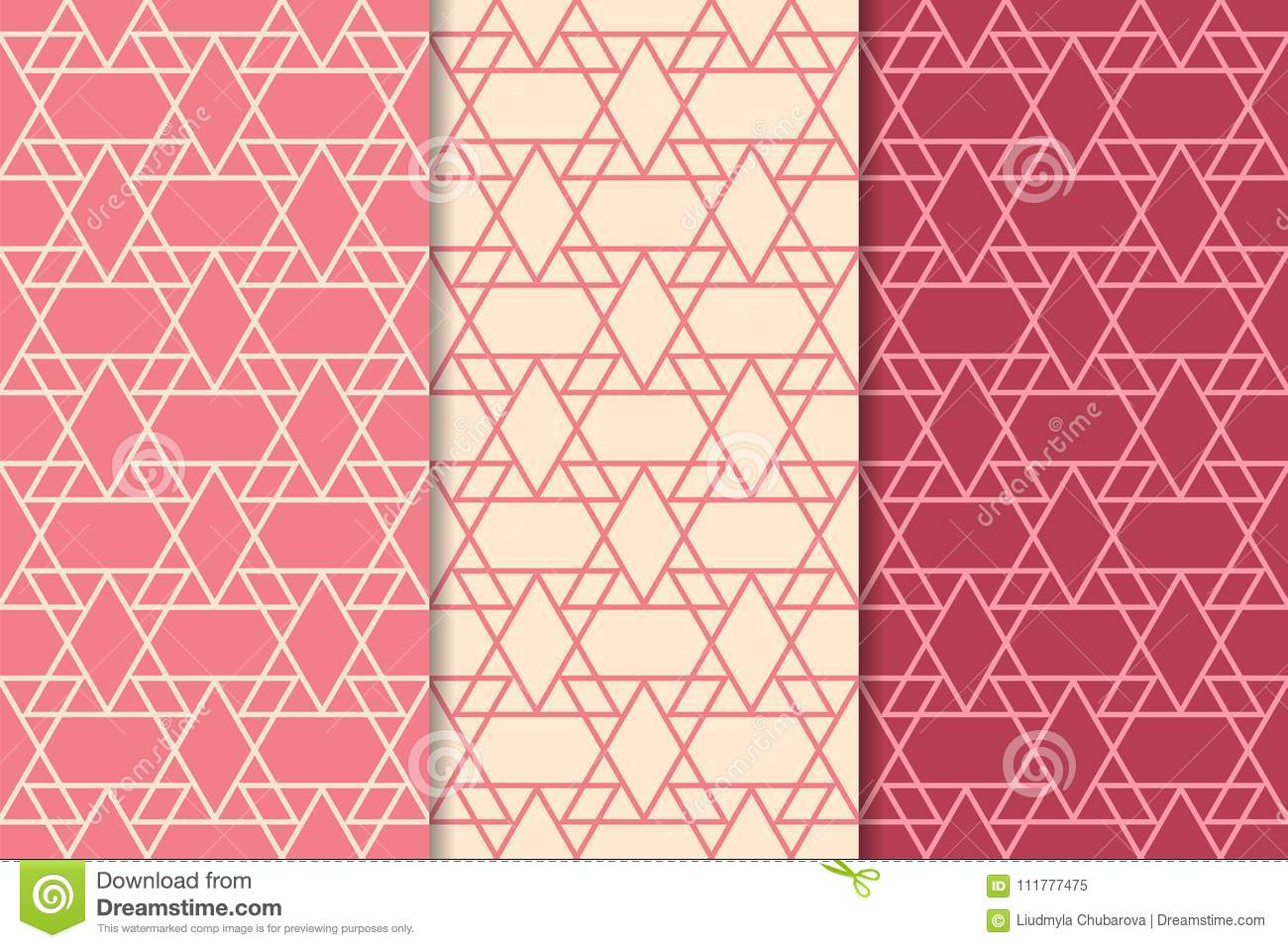 Cherry red geometric ornaments. Set of seamless patterns