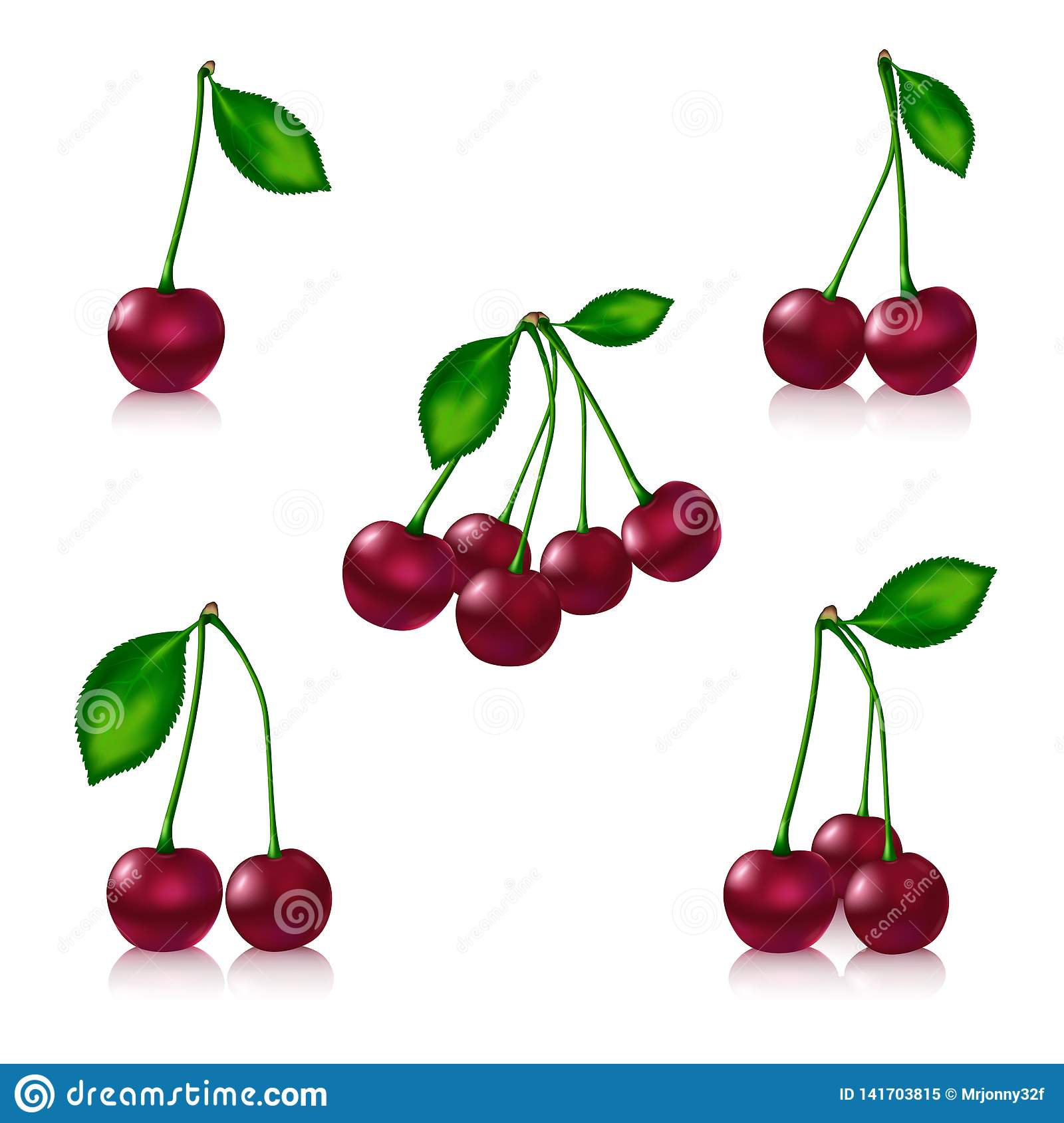 Cherry set on a white background with reflection