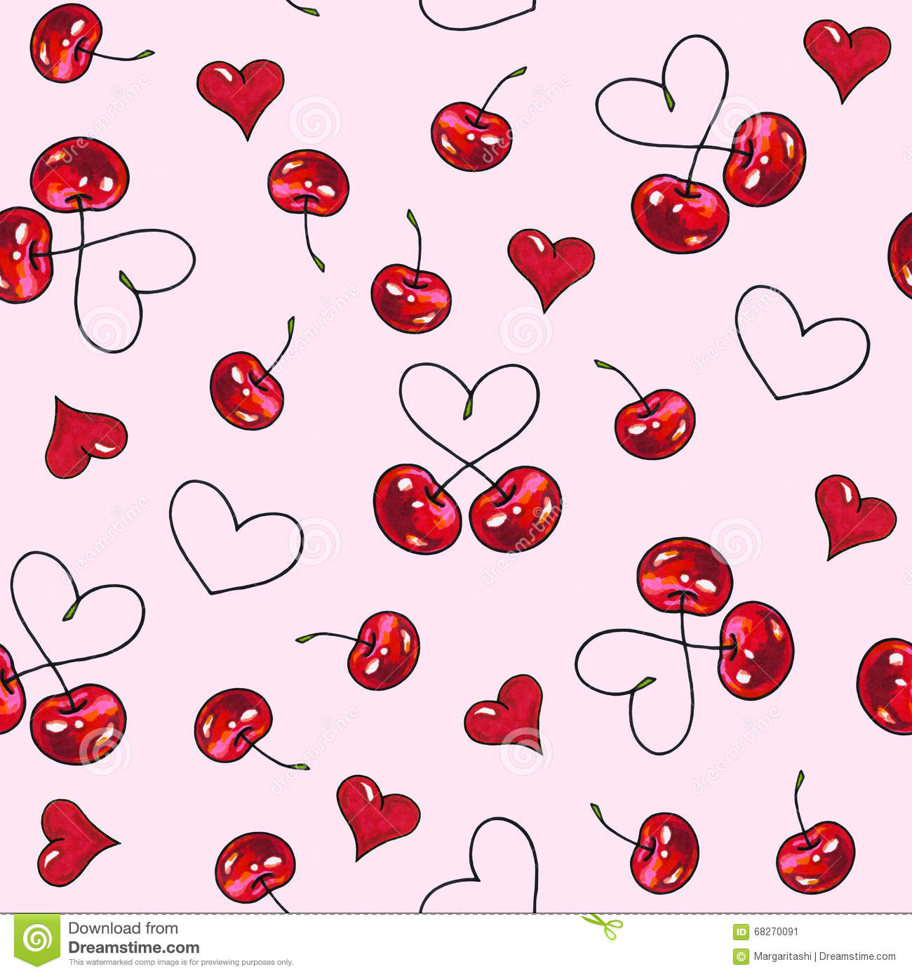 Cherry sweet on a pink background. Seamless pattern for design. Animation illustrations. Handwork