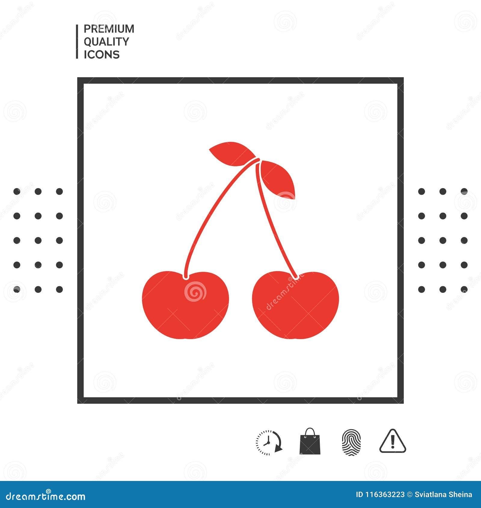 cherry symbol icon stock vector illustration of illustration