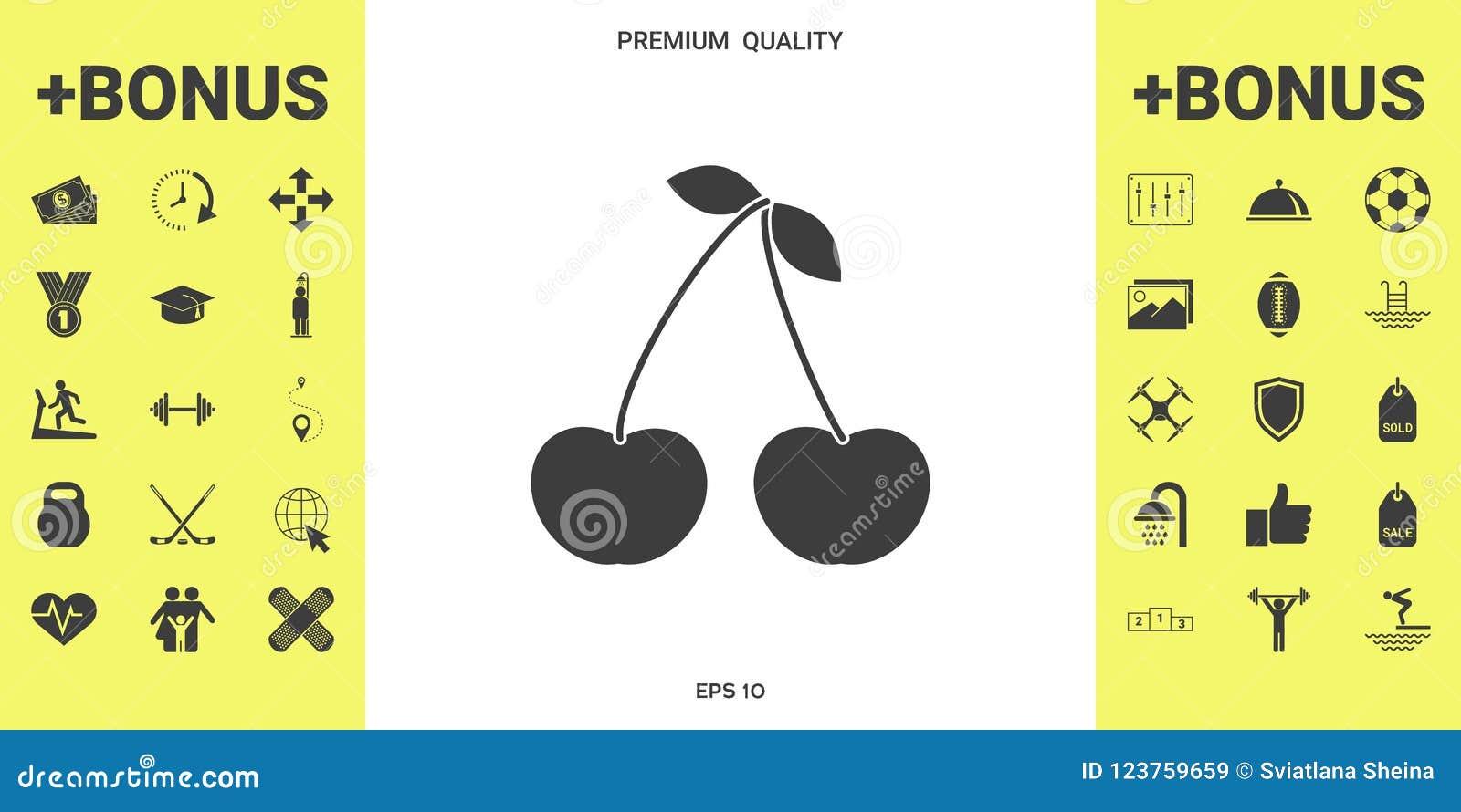 cherry symbol icon stock vector illustration of cherry 123759659