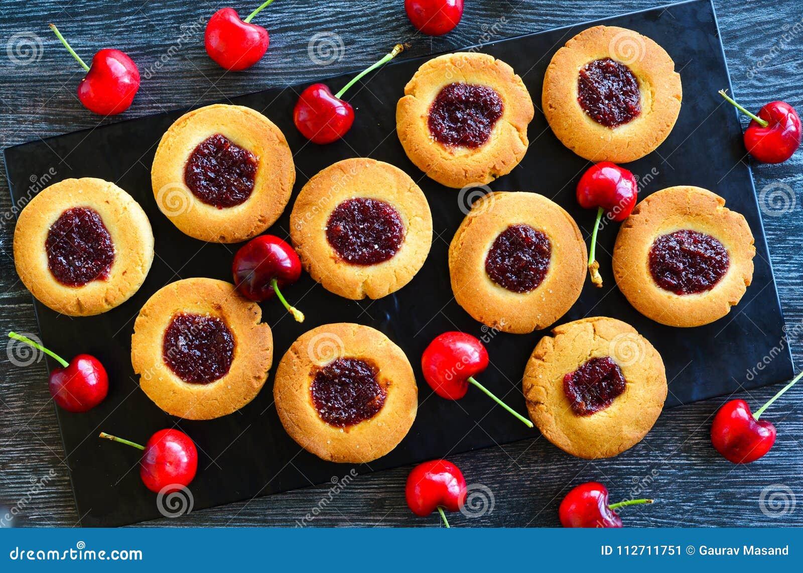Cherry Thumbprint Cookies Traditional Jam Drops Stock Image Image