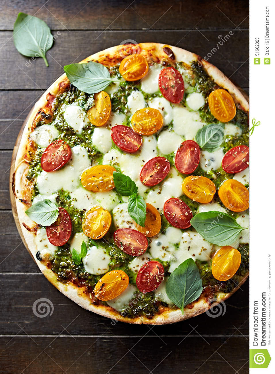 Mozzarella, Tomato And Pesto Pizza Recipe — Dishmaps