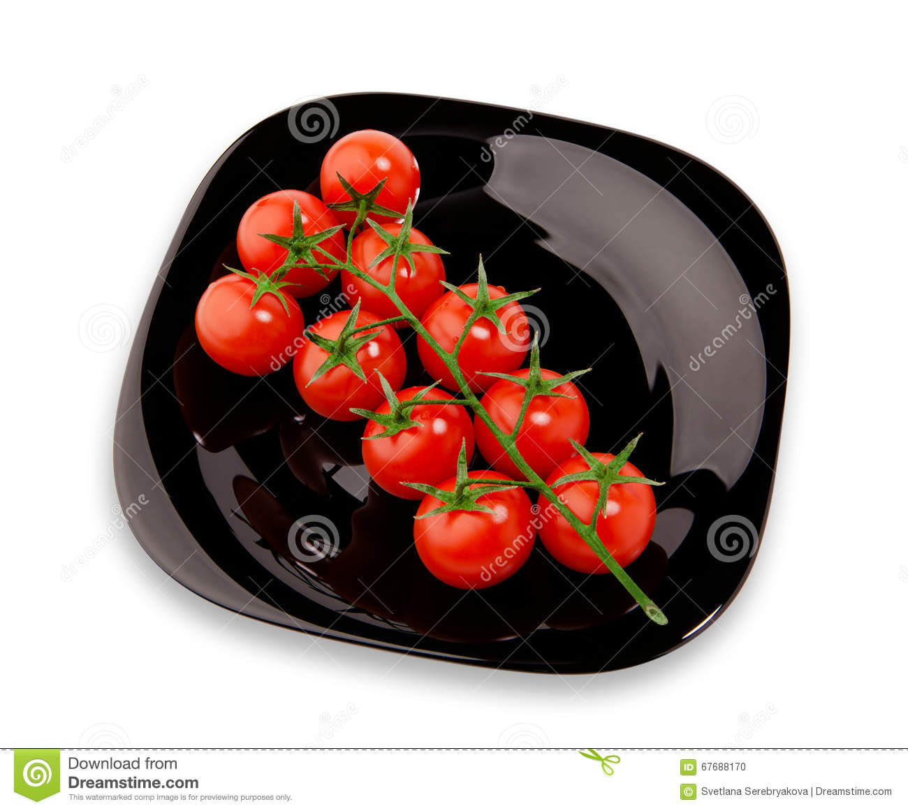 Cherry tomatoes on the black plate