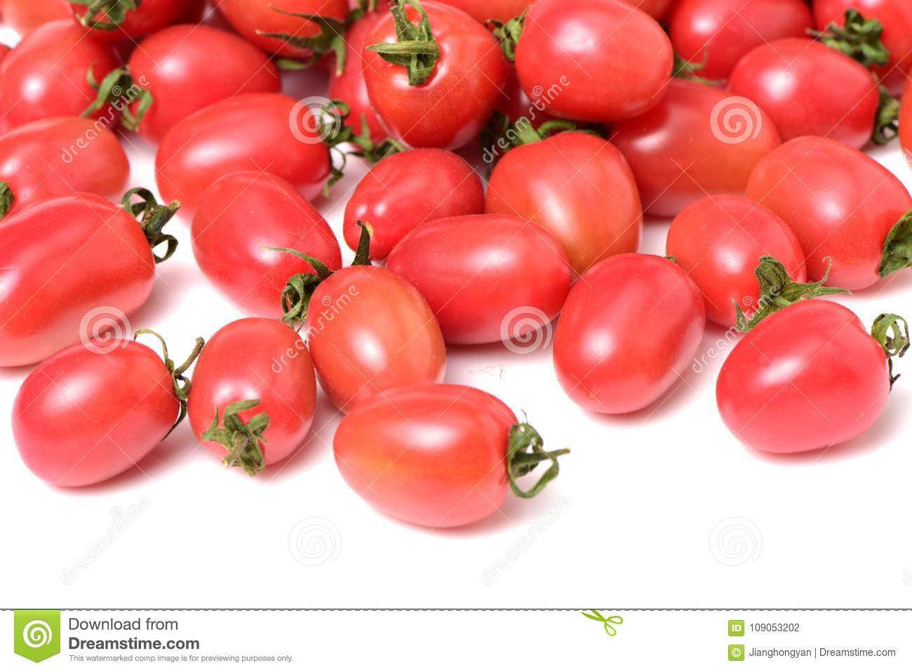 Cherry tomatoes close-up. Studio photography on a white background. Six varieties of tomatoes cherry