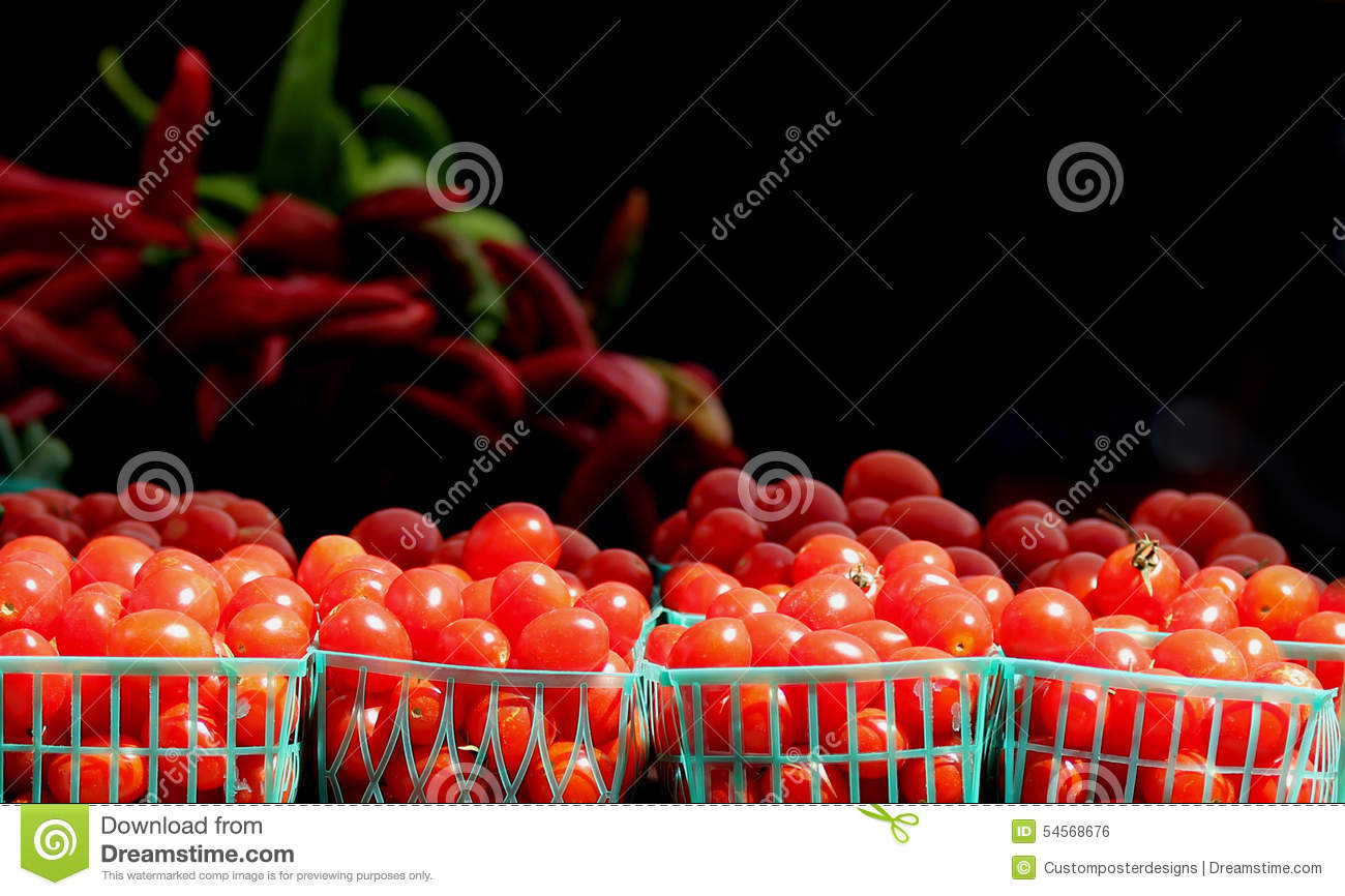 Download Cherry Tomatoes Produce In Little Baskets. Stock Photo - Image of basket, blank: 54568676