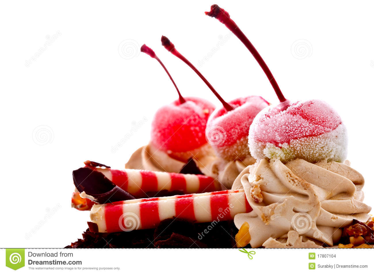 Cake Ice Cream On Top : Cherry On Top Of Ice Cream Cake Stock Images - Image: 17807104