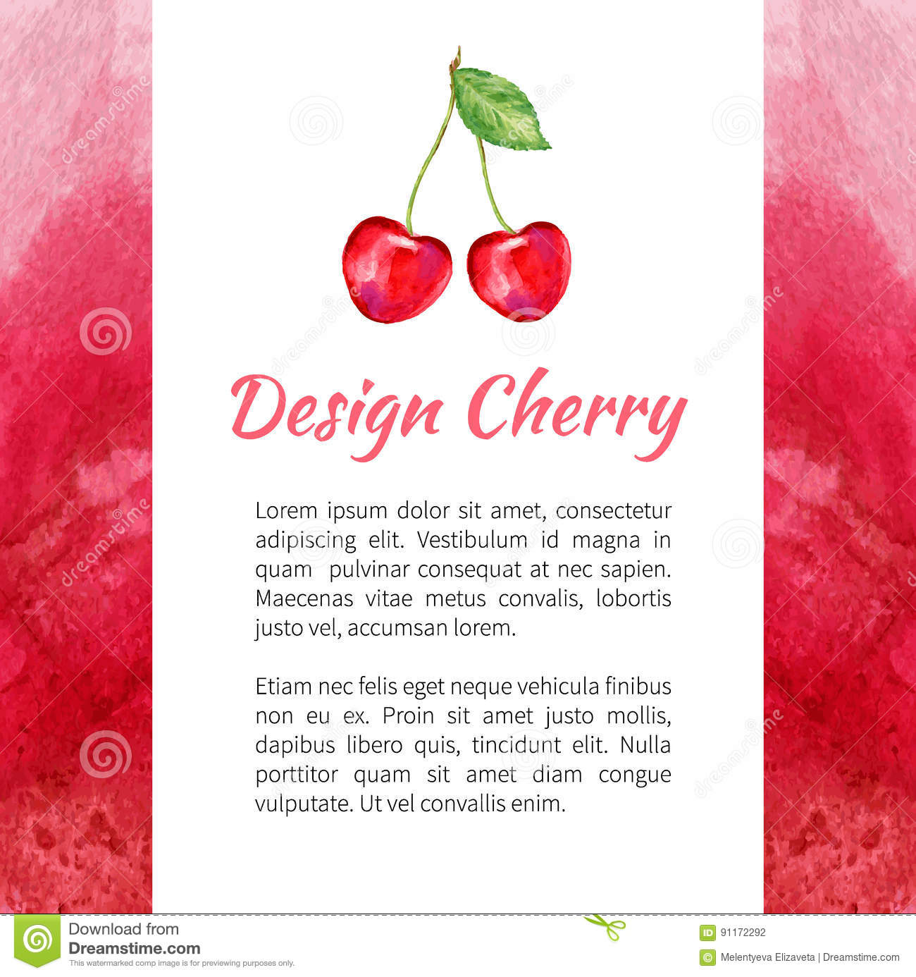 Cherry watercolor isolated on white background, Watercolor red texture, Design berry for packaging, vector fruit label