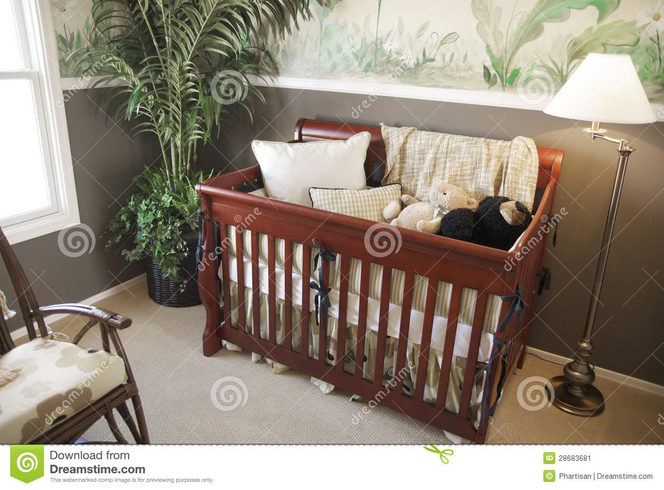 Wooden crib for babies - Cherry Wood Baby Crib In Nursery Interior