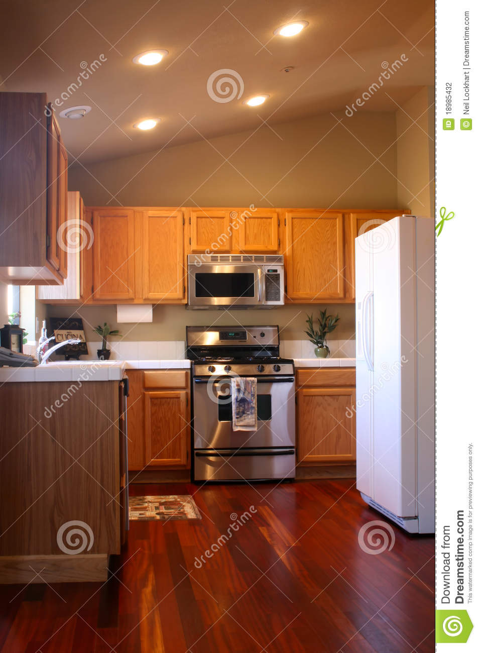 Cherry Wood Kitchen Stock Photo Image Of Kitchen Indoor