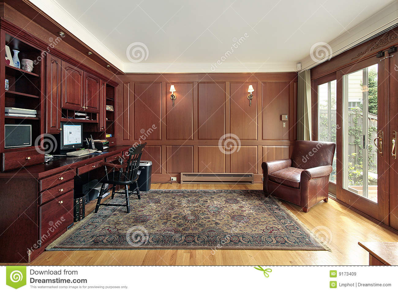 cherry wood paneled library royalty free stock images image 9173409
