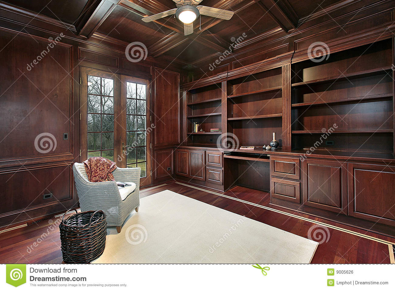 Cherry Wood Paneling Library Stock Photo Image Of Desk