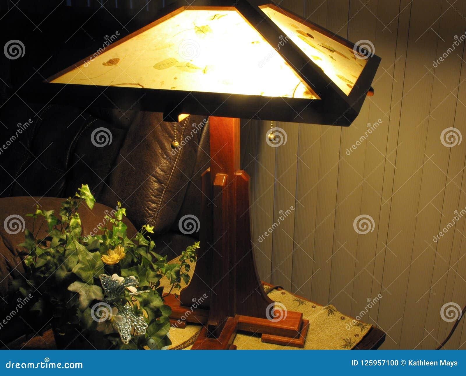Cherry Wood Table Lamp Stock Photo Image Of House Retro 125957100