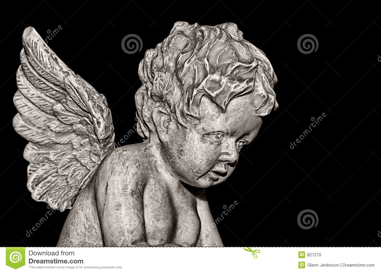 Cherub on black