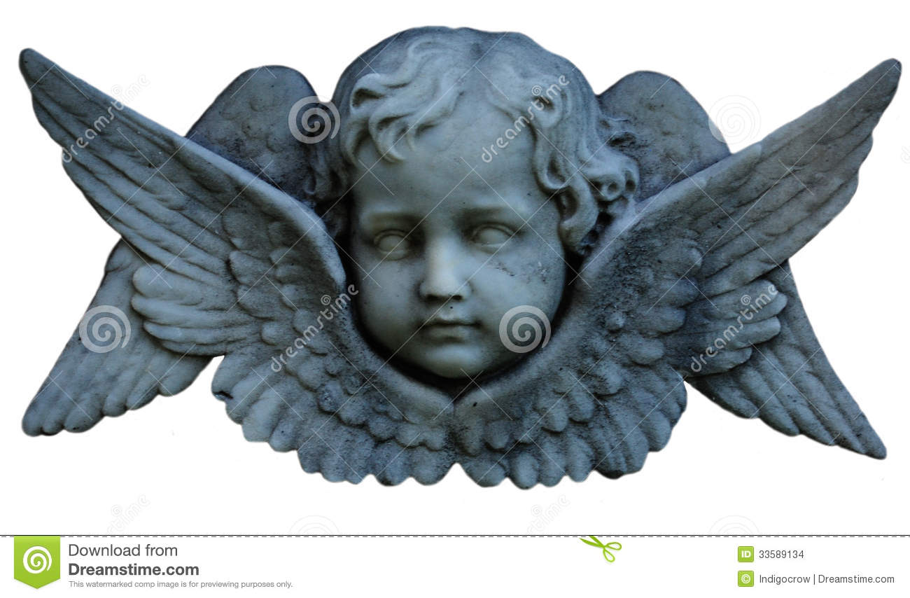cherub face with wings, made out of stone.
