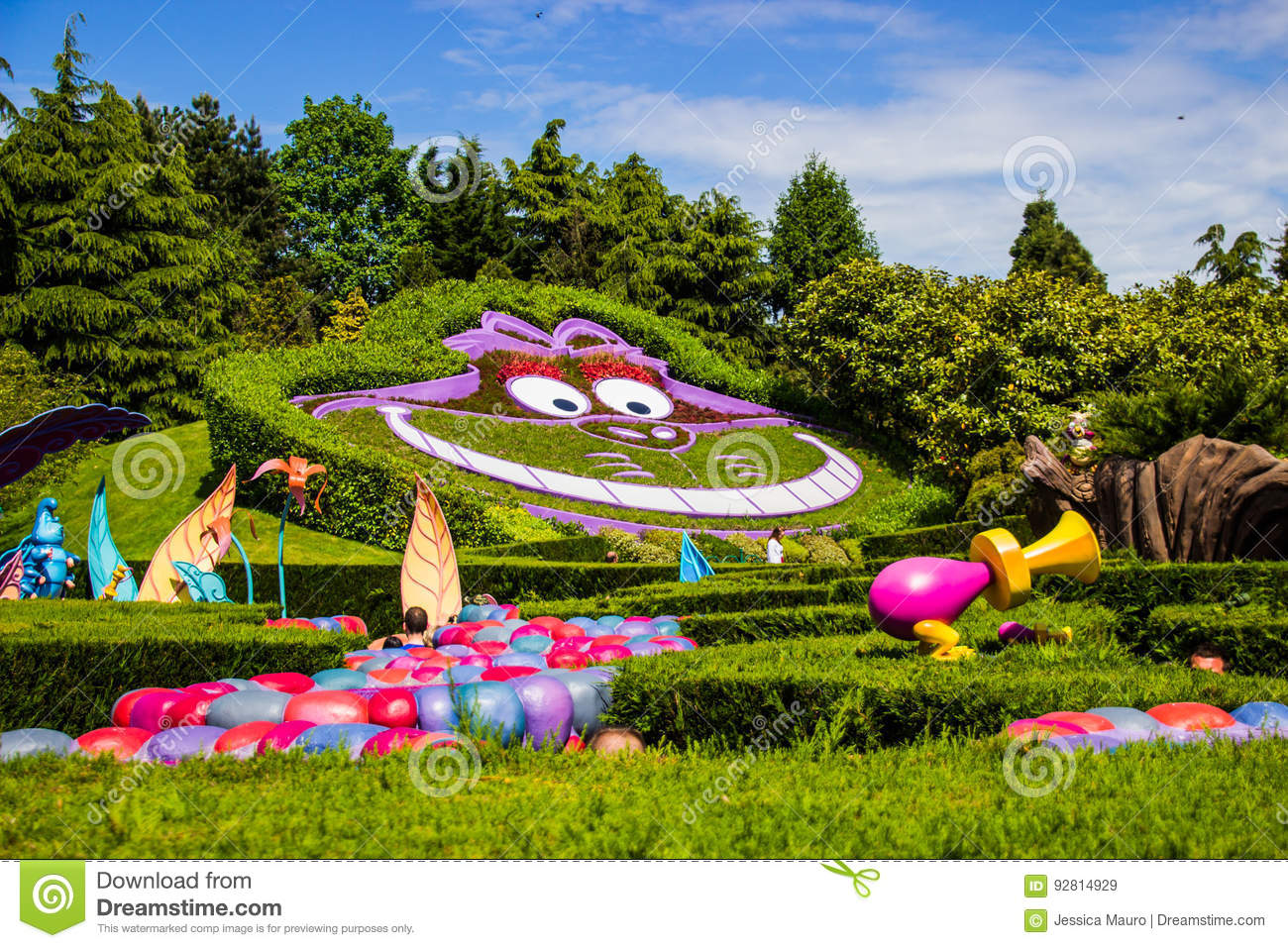 Cheshire cat at the Alice in Wonderland. Alice`s Curious Labyrinth. Disneyland Paris.