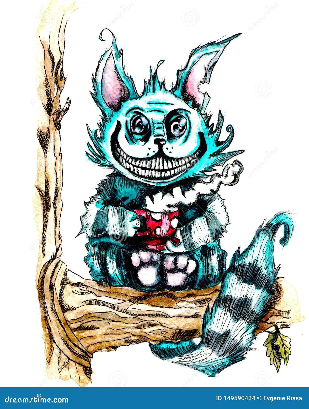 Cheshire-Katze mit einer Tasse Tee sitzend auf einem Baum Aquarell- und Zwischenlagenzeichnung