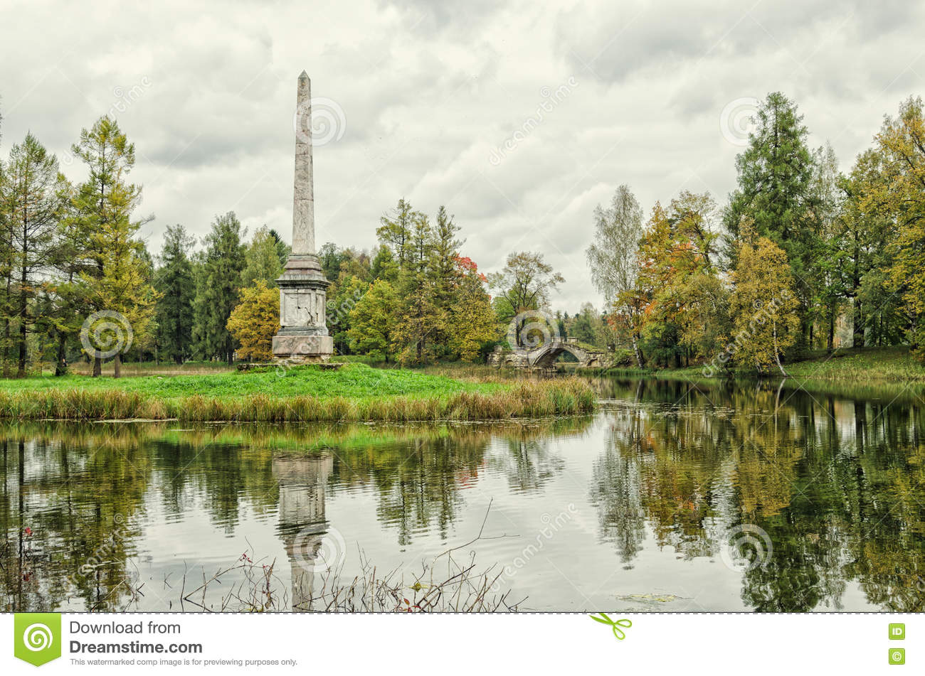 Chesmensky obelisk and the Gorbaty (Humpback) bridge in Gatchina.