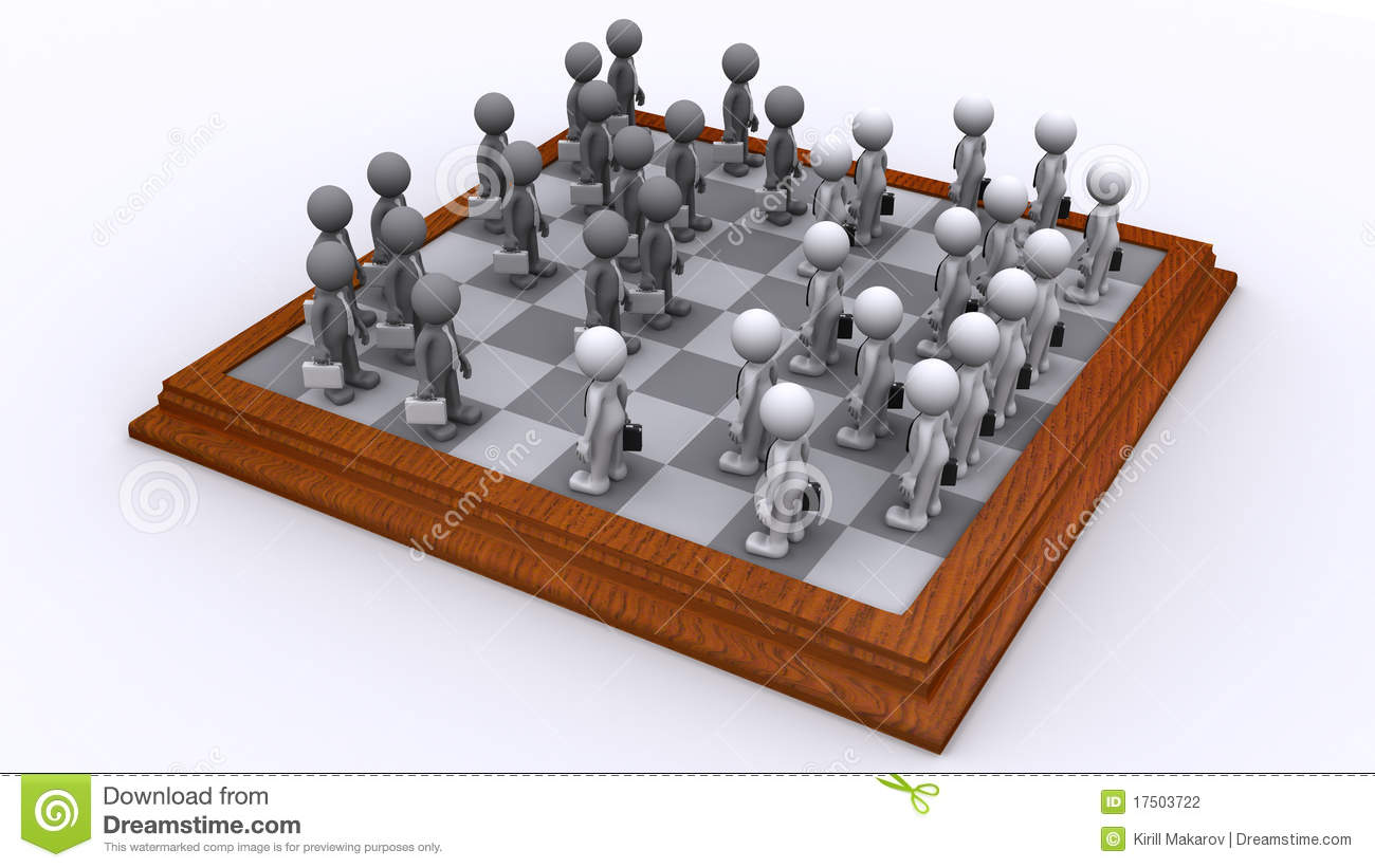 A Chess Board Of Business People Strategy Concept Stock