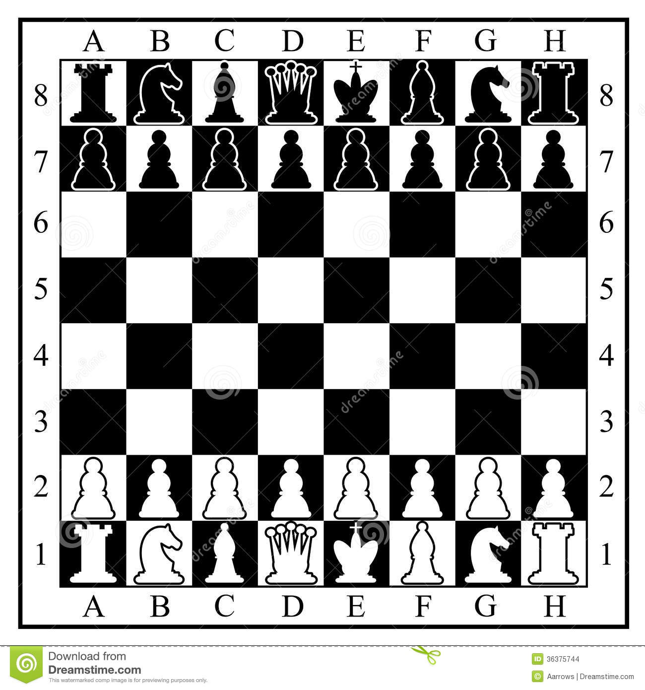 Chess Board With Pieces Stock Images Image 36375744