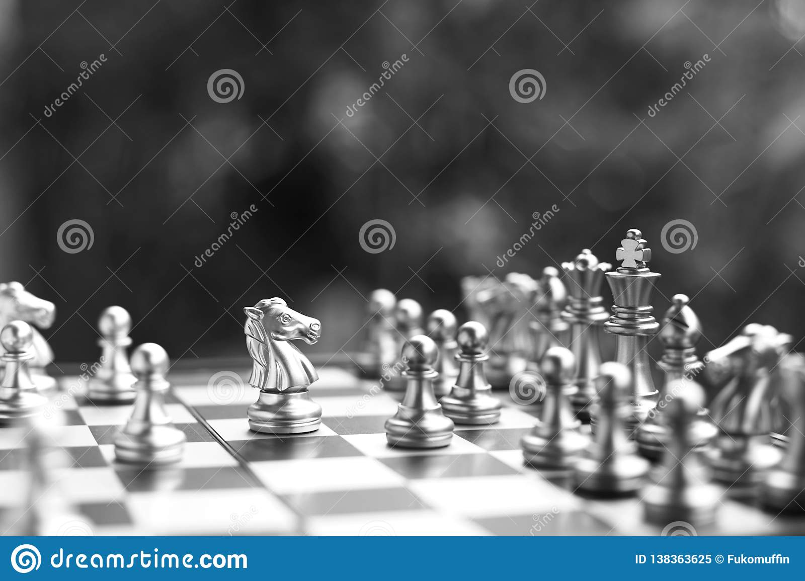 Chess board game. Fighting in black and white. Business competitive and strategy planning concept