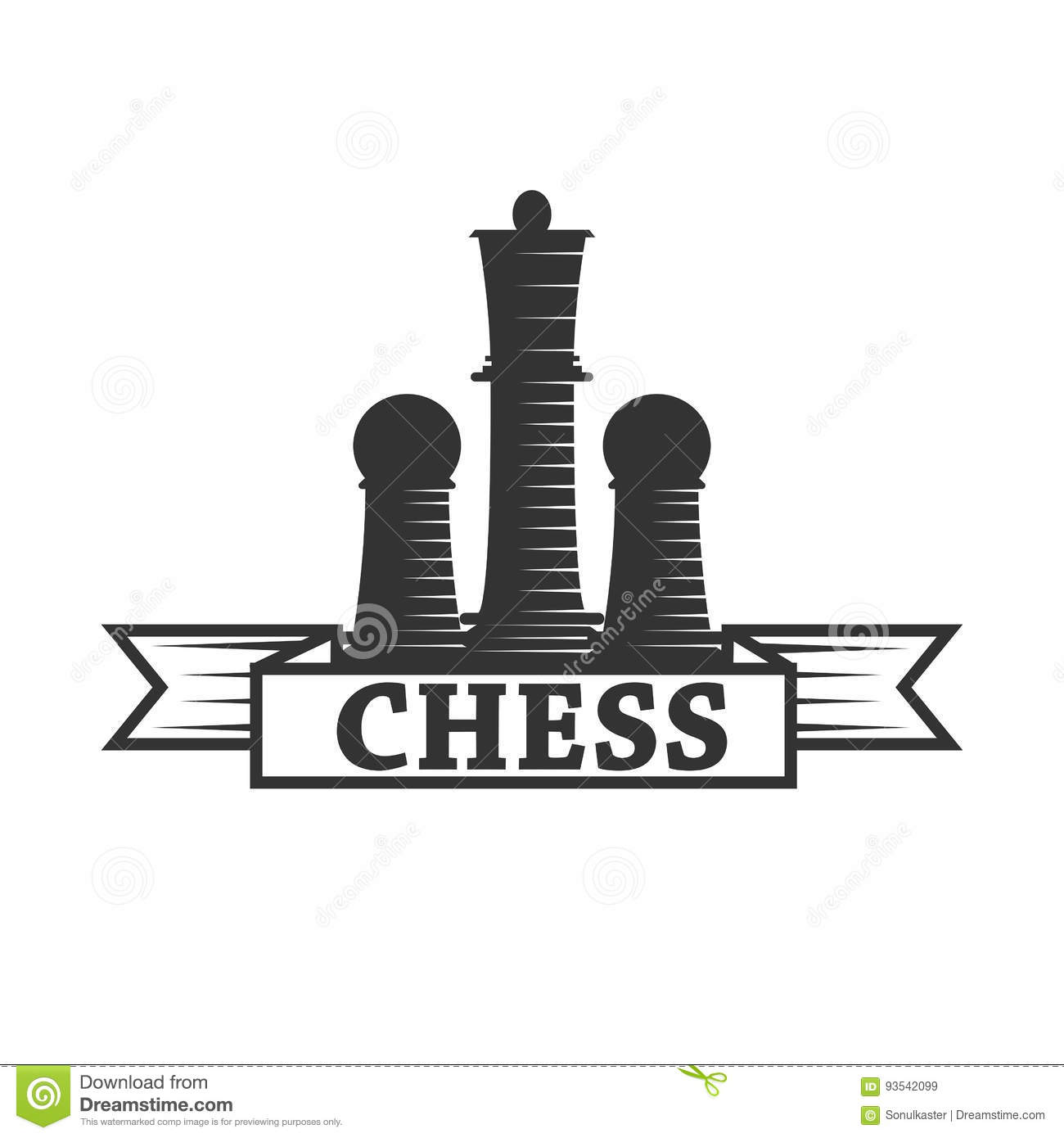 Chess Club Vector Icon Template Of Chessman King And Rook Or Pawn ...