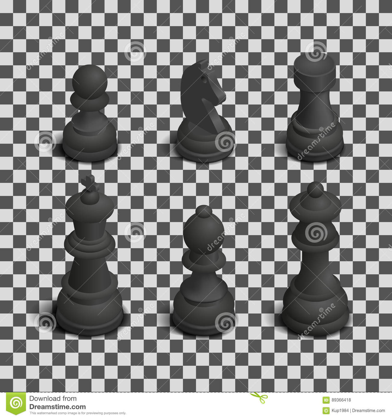 Photo Realistic Black Chess Pieces. 3D Isometric Style, Vector Illustration.