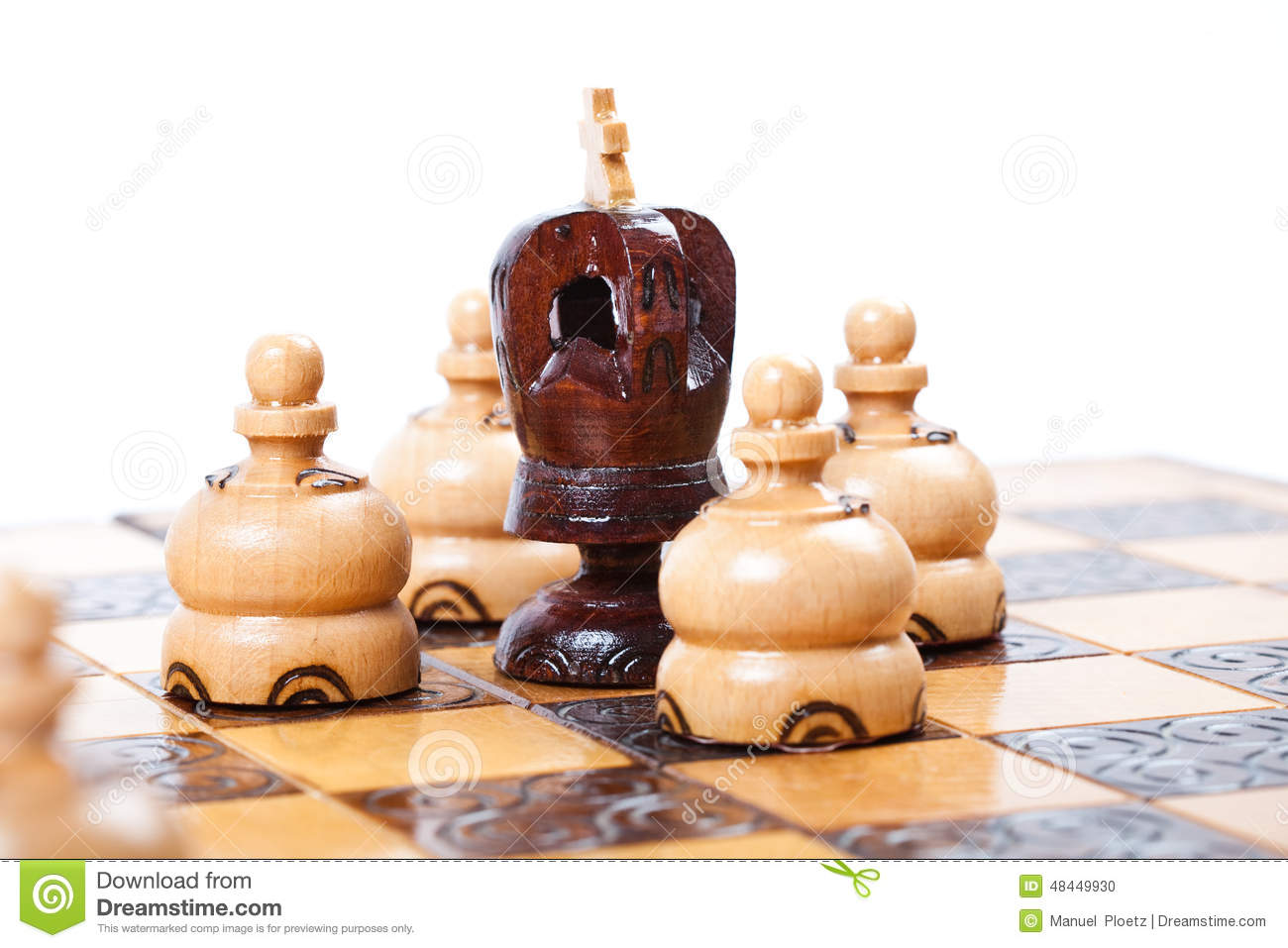 Chess game with black king surrounded by opposing pawn