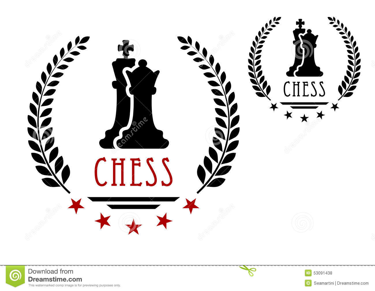 Stock Illustration Chess Game Emblem King Queen Logo Black Silhouettes Framed Laurel Wreath Stars Caption Image53091438 on chess vector graphics