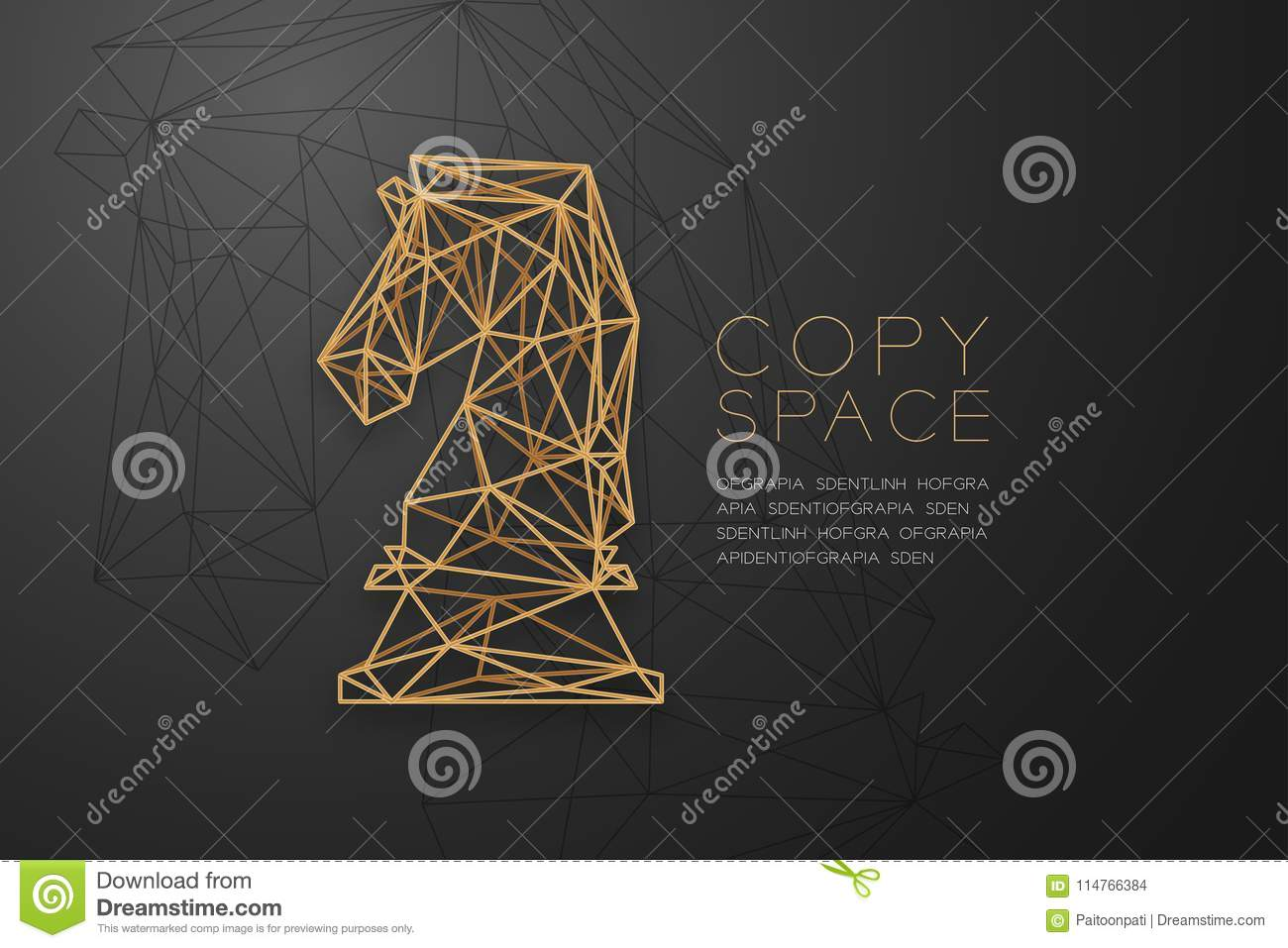 Chess Knight wireframe Polygon golden frame structure, Business strategy concept design illustration