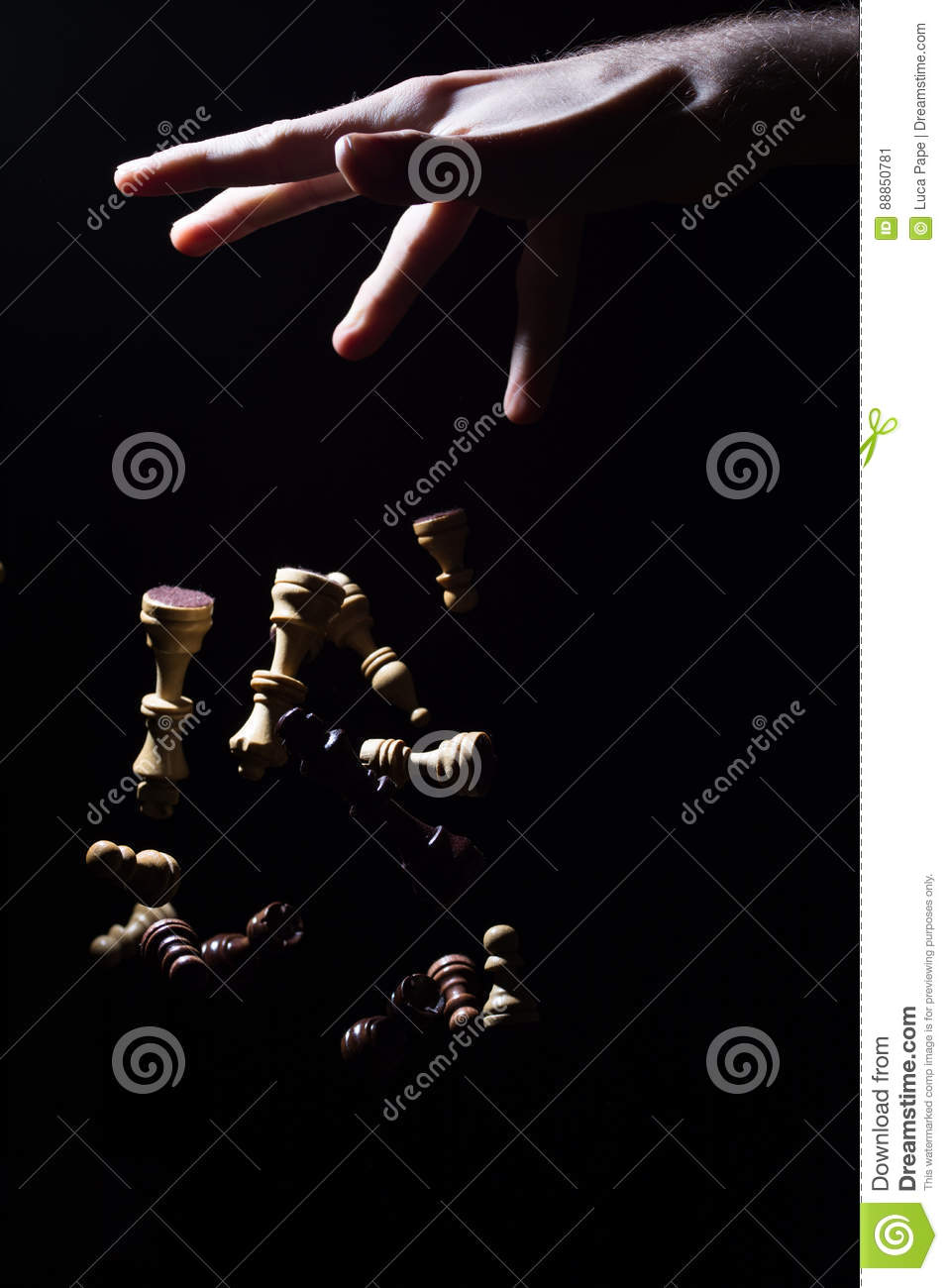 Chess Pieces Falling From Hand Symbol For Power And Control Stock